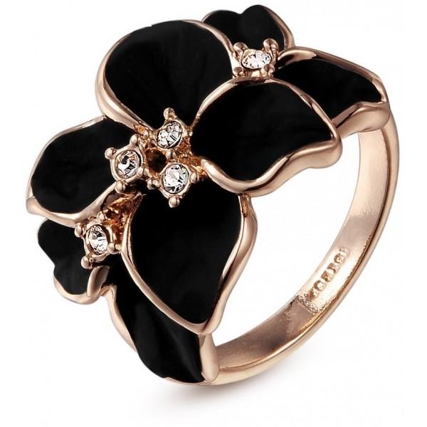 خاتم الورده السوداء مطلي ذهب ( حجم 8 )