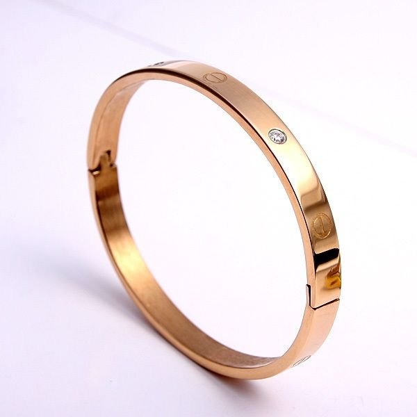 Cartier Style سوار مطلي بالذهب الروز مرصع بكريستالات صغيرة ناعمة