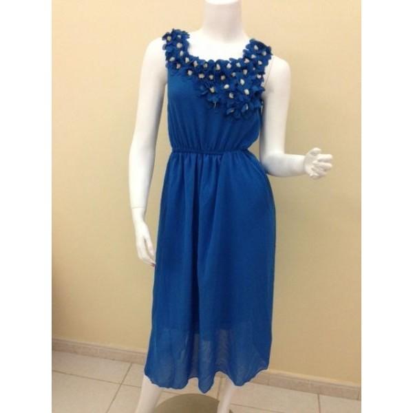 فستان بنات فلور جيرل ازرق داكن -قياس حر