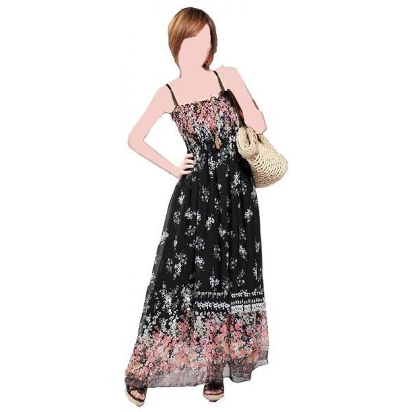 فستان نسائي (شيفون ، طويل ، أسود)