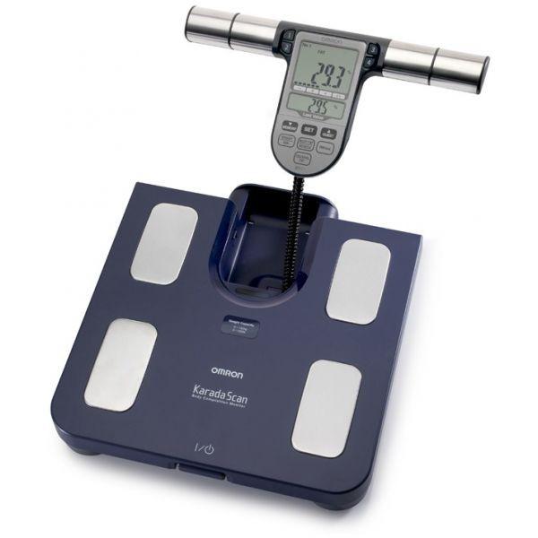جهاز اومرون الالكترونى لقياس وزن الجسم ,وكميه الدهون بالجسم والبطن لون ازرق