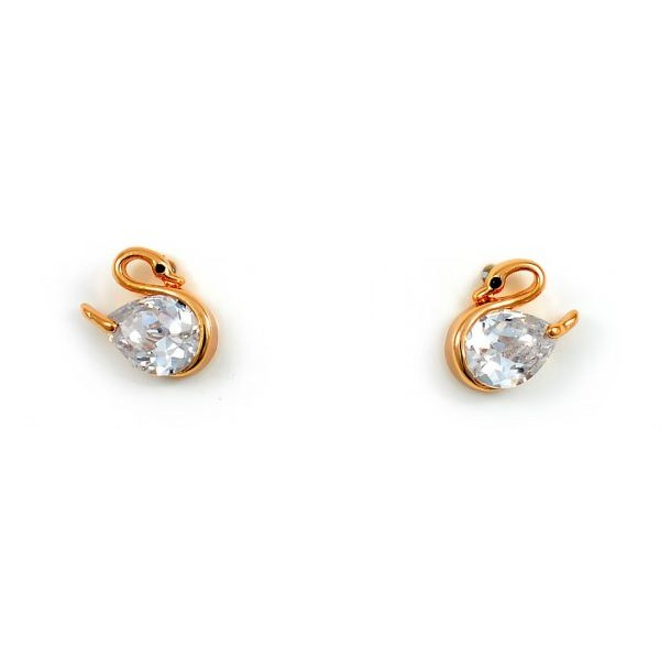 Swarovski Elements Women's 18K Rose Gold Plated Swan Shaped Earrings [SWR-023]