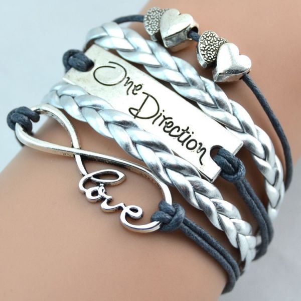 Silver and grey Fashion infinity love one direction double heart bracelet