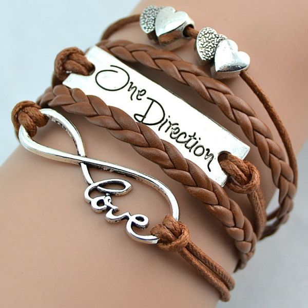 Brown Fashion infinity love one direction double heart bracelet