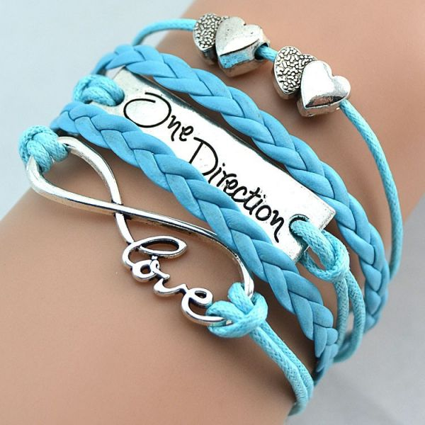 Light Blue Fashion infinity love one direction double heart bracelet
