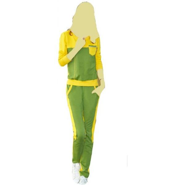 بيجامة نسائية اللون أخضر في أصفر أكمام طويلة وبنطالون مقاس L