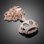 قلادة تاج الملكة المرصع بالكريستال الشفاف مطلية بذهب الروز