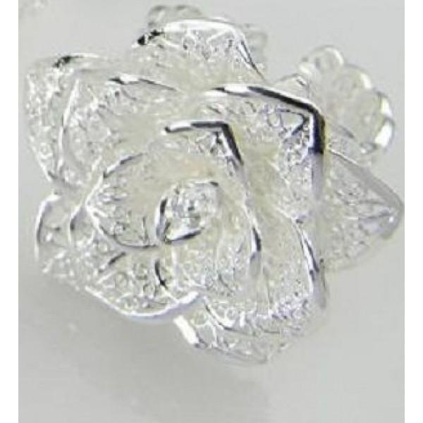 خاتم عصري شكل وردة من الفضة حجمه قابل للتعديل