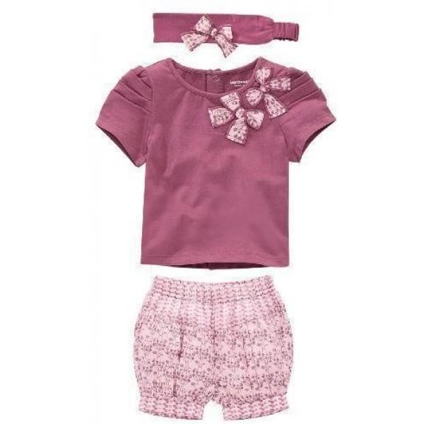 طقم ملابس بناتي من 3 قطع شورت وبلوزة وربطة راس