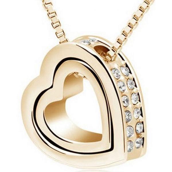 قلادة ذهبي رائعة المظهر تحمل قلبين مزدوجين