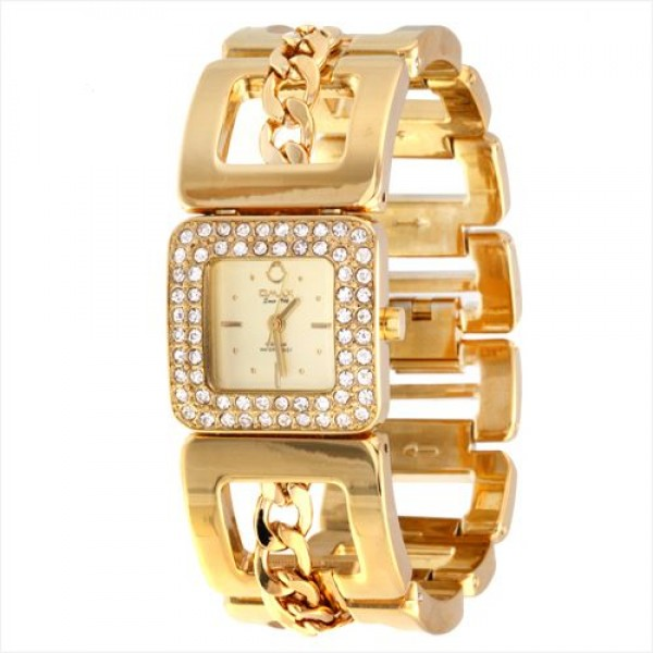 Omax Golden Dial Golden Stainless Steel with Crystals Women's Watch, ABR041
