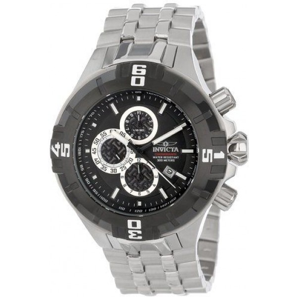 Invicta Men's 12364 Pro Diver Chronograph Black Dial Stainless Steel Watch