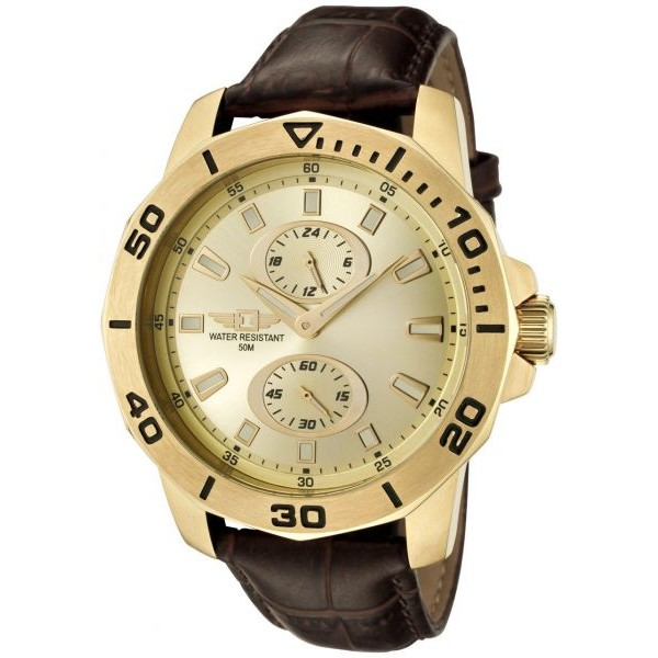 Invicta 43663-004 Men's Chronograph Brown Genuine Leather Gold-Tone
