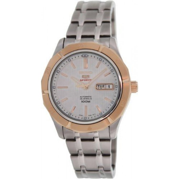 Seiko Men's SRP292 Silver Stainless-Steel Automatic Watch with White Dial