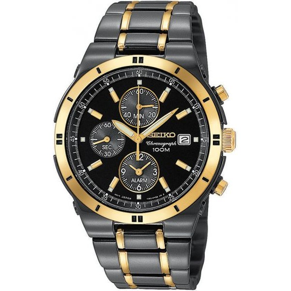 Seiko SNAA30 Black IP Two-Tone Chronograph Stainless Men's Watch