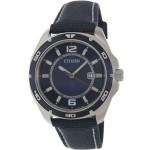 ساعة سيتيزن أنيقة للرجال Citizen Men's Classic BK2520-02L Blue Cloth Quartz Watch with Blue Dial