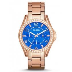 5e924942f ساعة فوسيل رايلي زرقاء للنساء بسوار من الستانلس ستيل - ES3569
