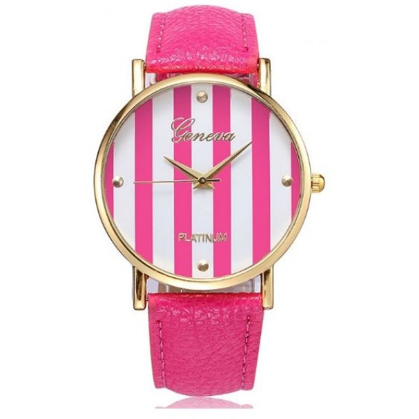 Geneva Leather Watch With Golden Stripped Dial Pink