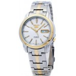 Men's Seiko 5 Automatic White Dial two tone Stainless Steel Watch SNKL84