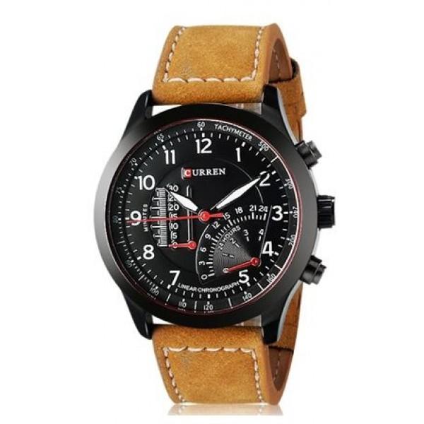 Curren 8152 Men's Quartz Analog-Digital Watch with Faux Leather Strap