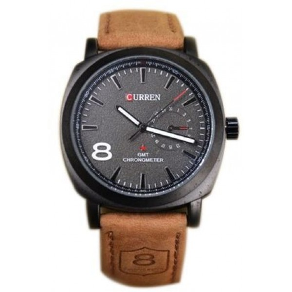 Curren 8139 Men's Black Dial Brown Leather Band Watch