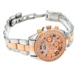Charisma C5392 Ladies Rose Gold Tone Crystal Encrusted Dial Two Tone Metal Band Watch