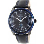 ساعة سيتيزن ايكو درايف للرجال Citizen Men's Eco-Drive AW1275-01E Black Leather Quartz Watch with Black Dial
